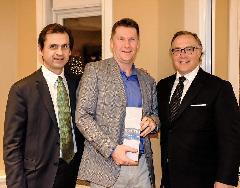 Mike Newediuk (RTW) with Greg Dobson (Rotary Etobicoke) and Emcee Bruce Gillies also of  RTW