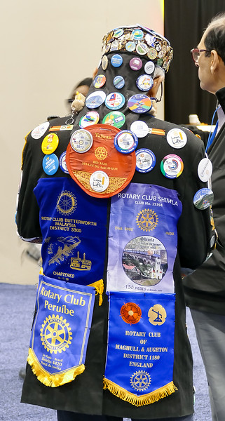Some members are REALLY into collecting pins, banners and badges!