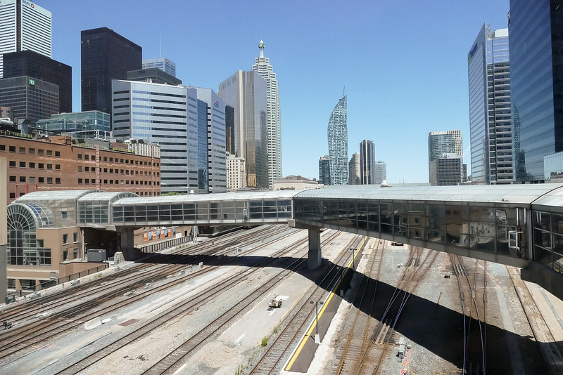 The Convention Center spans both sides of the railway tracks to the Union Station