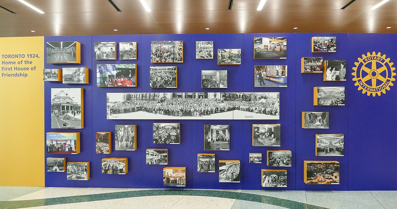 "Display showing images of the ""First House of Friendship Hall"" held in the 15th Annual Convention from June 16-20, 1924"