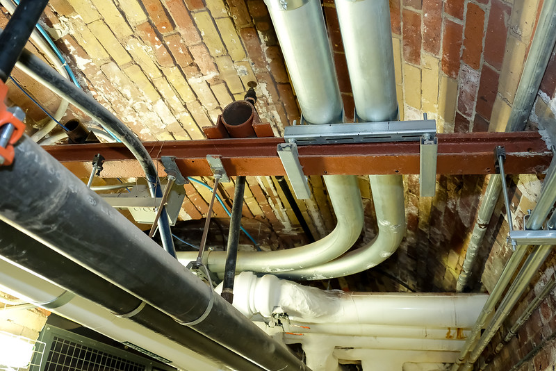 The arched tunnel roofs have been stabilized. As repairs were made though the years, each trade used a different colour of brick, so the work could be tracked.