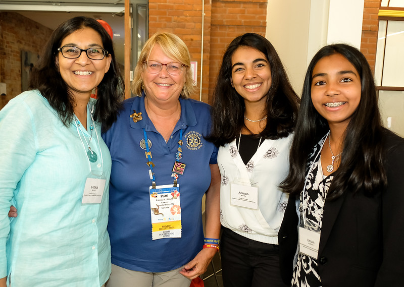 (L to R) Saira - ECI Teacher,  with Patti Wright - RTW Past President and Assistant DG 7070, with 2 Interactors Anisah and Iman. Patti and Saira worked together to found the Etobicoke Collegiate Interact (ECI) Club