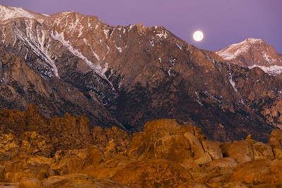 Moonset from the Alabama Hills, CA