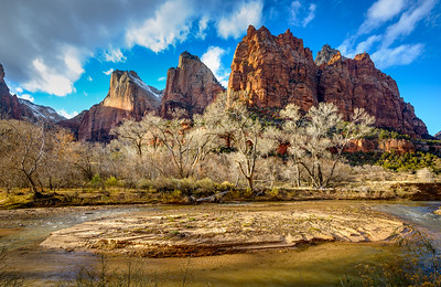 Virgin River and Court of the Patriarchs, Zion National Park