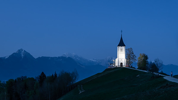 Lonely Church on Hill in the Evening