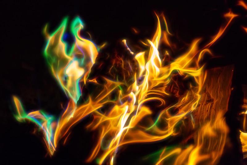 Campfire with Color Crystals