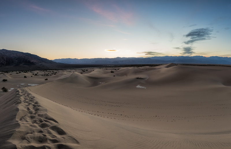 Mesquite Sand Dunes after Sunset - Pano
