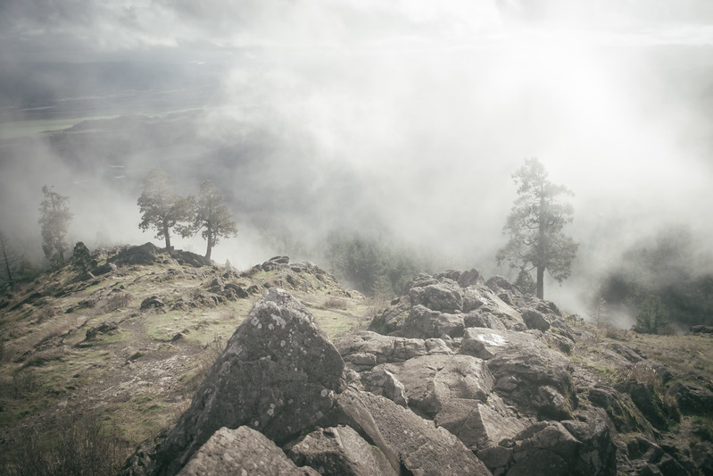Spencer's Butte on a foggy day