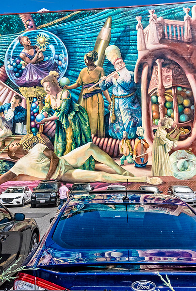 Mural, Parking, Blue Car