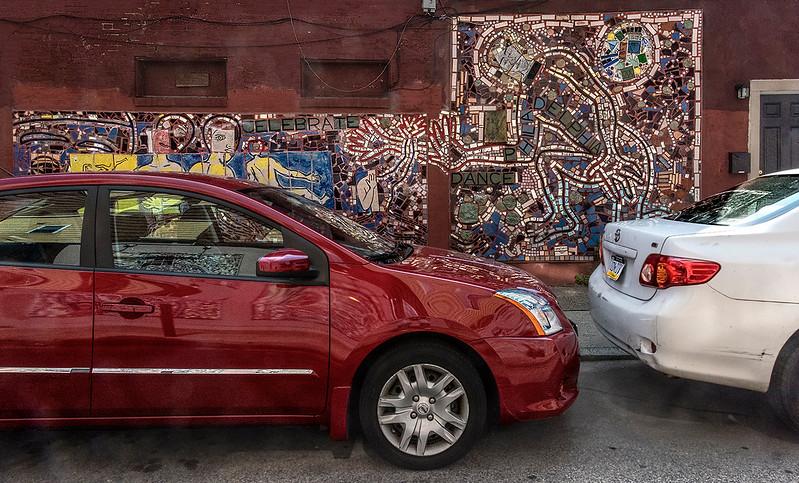 Red Car, Red Wall, White Car, Mosaic