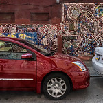 Red Car, Red Wall, White Car, Mosaic