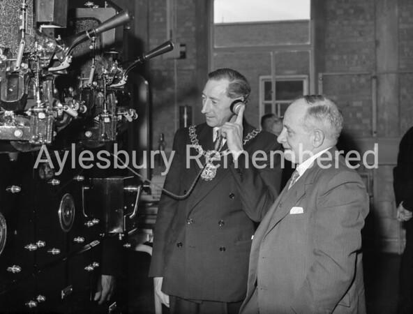 Mayor Glynn Davies opens Telephone Exchange, Mar 7th 1957