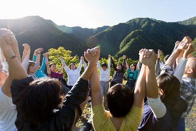 A group gathers for group yoga at Taiyo-ji Temple in Chichibu, Japan.