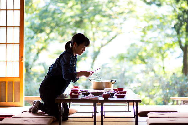 A traditional Japanese meal is prepared at Taiyo-ji Temple in Chichibu, Japan, September 19, 2017.