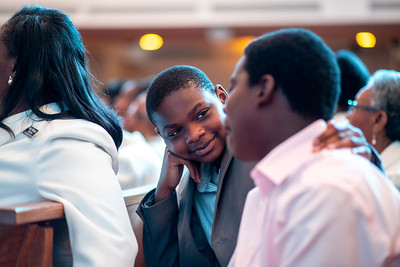 Joshua R Williams looks at his brother, Caleb C Williams, during worship at Zion Baptist Church at 3600 N Broad Street in North Philadelphia Sunday, August 18, 2019. The congregation gathered Sunday morning only two blocks from the site of a standoff between police and a gunman on the 3700 block of N 15th St. Wednesday evening.