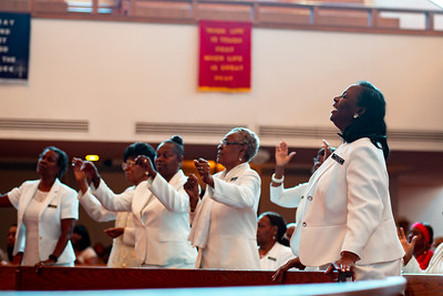 Deaconesses worship at Zion Baptist Church at 3600 N Broad Street in North Philadelphia Sunday, August 18, 2019. The congregation gathered Sunday morning only two blocks from the site of a standoff between police and a gunman on the 3700 block of N 15th St. Wednesday evening.