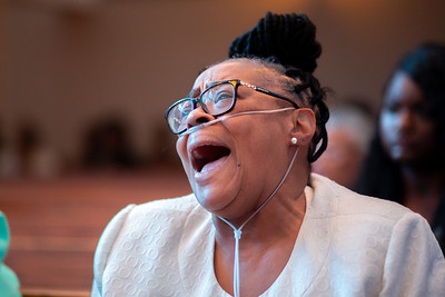 Donna Henry worships at Zion Baptist Church at 3600 N Broad Street in North Philadelphia Sunday, August 18, 2019. Henry's granddaughter was on lockdown in her daycare last week during a standoff between police and a gunman on the 3700 block of N 15th St. Wednesday evening, August 14, 2019.