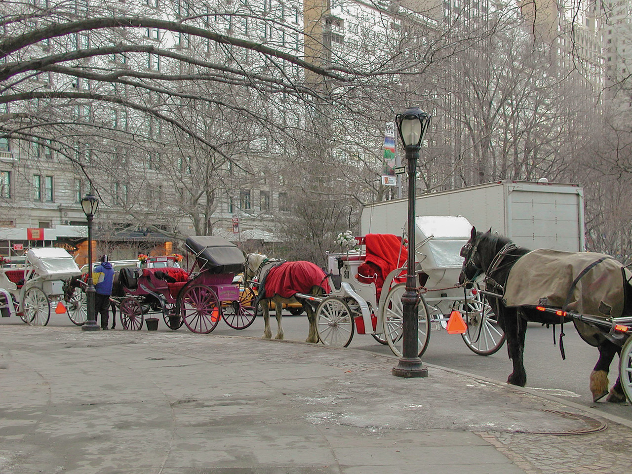Queue for horse drawn buggy