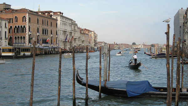 Gondolas and vaporettos on the Grand Canal