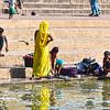Pilgrims Wash Clothing in the Godavari River