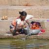 Washing Her Clothing in the Godavari River