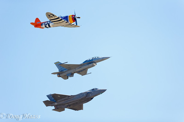 Heritage Flight - Top to bottom...P47, F16 Viper and F35A Lightning II - Friday 10/22/2016.