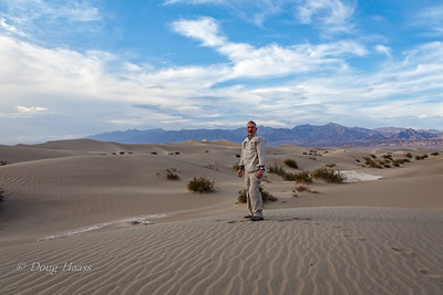 Mesquite Dunes...tallest one is about 100 feet, just over my right shoulder.  It was really hot here 113 deg. July 2018.