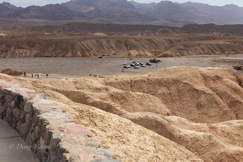 Looking east into the parking lot for Zabriskie Point Overlook July 2018