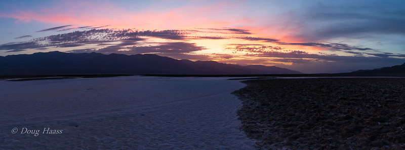 Sunset at Badwater Basin Salt Flats in Death Valley NP July 10, 2018.  Lowest point in North America....282 feet below sea level.