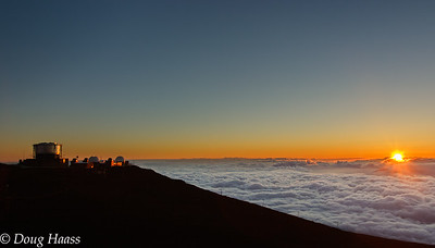 Sunset over the clouds on Maui in Hawaii