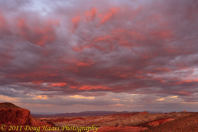 Sunset in Valley of Fire State Park - On a ridge looking east,location is just past Rainbow Vista on Scenic Drive.