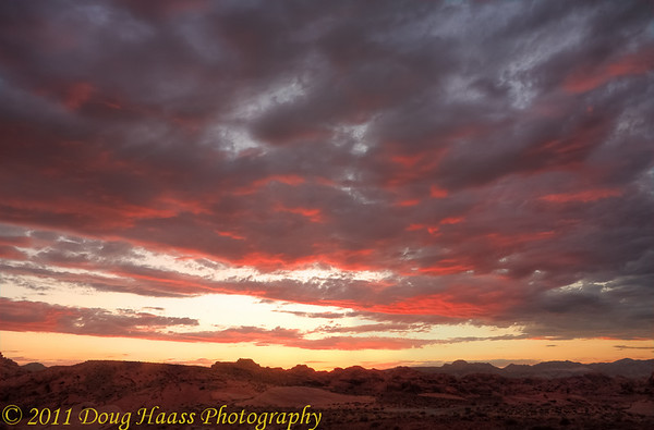 Sunset at Valley of Fire - Facing west while on a short ridge, location is just past Rainbow Vista on Scenic Drive.