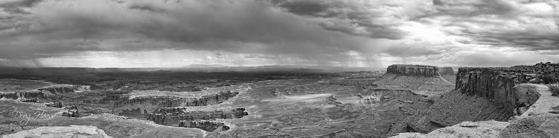 Canyonlands, Island in the Sky, Grand View Point, July 10, 2006.  B&W version.