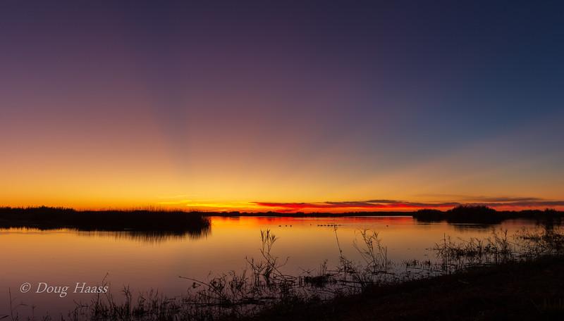 Crepuscular rays radiating outwards over Shoveler Pond before sunrise 12/16/2018.