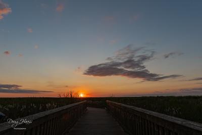 Sunrise over the boardwalk at Shoveler Pond, Saturday morning 9/11/2021.