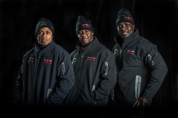 Jamaican Bobsled Team with Sponsor