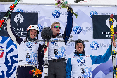 Mike Rossi, Zachary Surdell, Alec Carignan  at the 2014 US Freestyle Ski Championships, Deer Valley Resort, Park City UT  (3/28/2014)