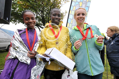 Admiral Swansea Bay 10k Race... womans winner (centre) with second (left) and third (right) BYLINE www.adrianwhitephotography.co.uk
