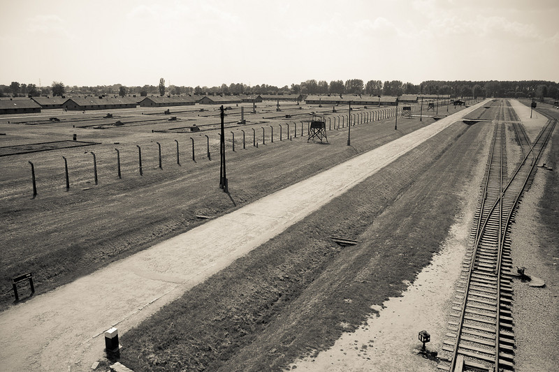 Auschwitz II-Birkenau train line leading to gas chamber