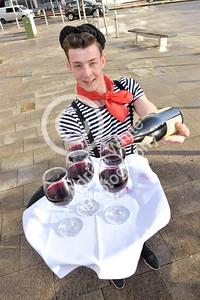 SWANSEA / Copyright Adrian White Thursday 17th November 2016 Beaujolais Day at the DFragon Hotel... Craciun Florin servingthis years  Beaujolais.
