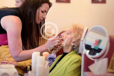Beautician Kelly Anthony and Agi May giving their 'Beautiful You' makeover touch to residents of The Albert Edward Prince of Wales Court Residential Nursing Home...  Resident Gwynneth Davies recieving her makeover and face massage.  Copyright © 2018 by Adrian White Photography, all rights reserved. For permission to publish - contact me via www.adrianwhitephotography.co.uk Please respect copyright laws.