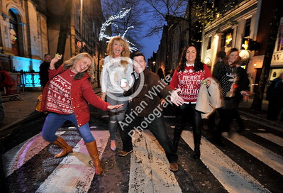 SWANSEA / Copyright Adrian White Friday 16th December 2016 Revellers in Wind Street, Swansea celebrating Christmas on Black Friday. BYLINE www.click4prints.com