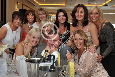 Jan Rees presents 'Going For Gold' charity fundraiser at the Marriot Hotel, Swansea. Only One Man Aloud... Kevin Johns and fellow guests.