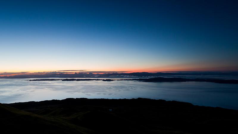 Isles of Rona and Raasay from Trotternish ridge, Isle of Skye