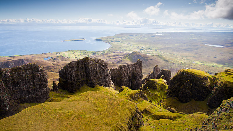 Looking down onto The Table in The Quiraing, Isle of Skye