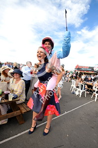 Copyright Click4prints.com Friday 26th August 2016 Ladies Day Ffos Las Wannabe jockey Jonathan Dome with Gemma Sugden. BYLINE click4prints.com
