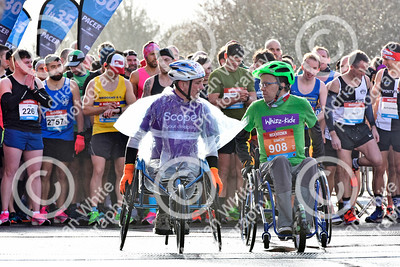 Llanelli Half Marathon 2020. 1500 runners taking part in the annual dash around the town of Llanelli, starting and ending at Parc y Scarlets.  Wheelchair competitors, Steve Walford and Simon Green  PLEASE BYLINE click4prints.com  Copyright © 2020 by Adrian White  Photography, all rights reserved. For permission to publish - contact me via www.adrianwhitephotography.co.uk Please respect copyright laws.