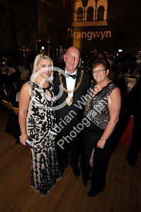 copyright adrian white/  Byline click4prints.com SWANSEA / with story / Friday 29th July 2016 Lord Mayor's Summer Honours Ball event organiser Jess Rice with Lord Mayor David Hopkins and Lady Mayoress Beverly Hopkins. BYLINE .. click4prints.com