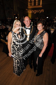 SWANSEA / with story cpyright adrian white/  Byline click4prints.com Friday 29th July 2016 Lord Mayor's Summer Honours Ball Event organiser Jess Rice with Lord Mayor David Hopkins, Lady Mayoress Beverly Hopkins BYLINE .. click4prints.com