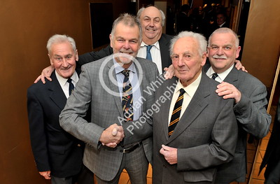 SWANSEA / Copyright Adrian White Friday 20th January 2017 SOCIETY PIX for the Mumbles Cricket Club Annual Dinner at The Marriot Hotel. Clockwise from left, Mumbles Cricket Club President, Pip George, chairman Mark Portsmouth, event organiser Simon lloyd, club legend Don Shepherd shaking the hand of former Essex and England cricketer and guest speaker on the night Geoff Miller. BYLINE www.click4prints.com